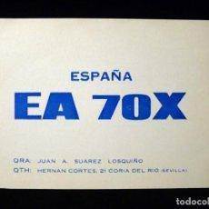 Radios antiguas: TARJETA POSTAL QSL RADIOAFICIONADO. EA7OX - CORIA DEL RÍO (SEVILLA), 1970. RADIO AFICIONADO. Lote 163972310
