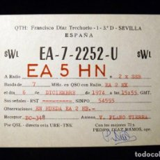 Radios antiguas: TARJETA POSTAL QSL RADIOAFICIONADO. EA72252U - SEVILLA, 1974. RADIO AFICIONADO. Lote 163973418