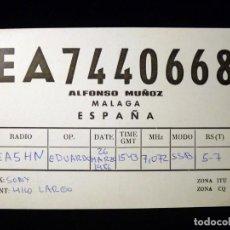 Radios antiguas: TARJETA POSTAL QSL RADIOAFICIONADO. EA7440668 - MÁLAGA, 1986. RADIO AFICIONADO. Lote 163973578