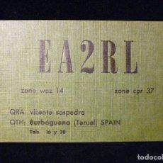 Radios antiguas: TARJETA POSTAL QSL RADIOAFICIONADO. EA2RL - BURBÁGUENA (TERUEL), 1978. RADIO AFICIONADO . Lote 163973966
