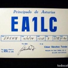 Radios antiguas: TARJETA POSTAL QSL RADIOAFICIONADO. EA1LC - GIJÓN (ASTURIAS), 1974. RADIO AFICIONADO. Lote 163974078