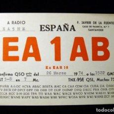 Radios antiguas: TARJETA POSTAL QSL RADIOAFICIONADO. EA1AB - SANTANDER, 1974. RADIO AFICIONADO . Lote 163974542