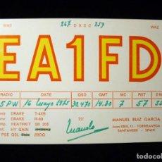 Radios antiguas: TARJETA POSTAL QSL RADIOAFICIONADO. EA1FD - TORRELAVEGA (SANTANDER), 1975. RADIO AFICIONADO. Lote 163974814