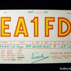 Radios antiguas: TARJETA POSTAL QSL RADIOAFICIONADO. EA1FD - TORRELAVEGA (SANTANDER), 1975. RADIO AFICIONADO (2). Lote 163974938