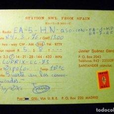Radios antiguas: TARJETA POSTAL QSL RADIOAFICIONADO. EA1MP - SANTANDER, 1976. SELLO TRÁFICO URE. RADIO AFICIONADO . Lote 163975326