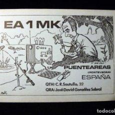 Radios antiguas: TARJETA POSTAL QSL RADIOAFICIONADO. EA1MK - PUENTEAREAS (PONTEVEDRA), 1979. RADIO AFICIONADO . Lote 163977990