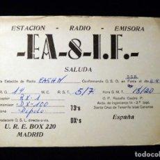 Radios antiguas: TARJETA POSTAL QSL RADIOAFICIONADO. EA8IF - SANTA CRUZ DE TENERIFE, 1973. RADIO AFICIONADO. Lote 163981134