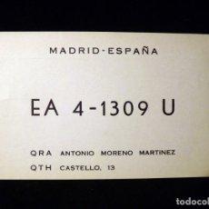 Radios antiguas: TARJETA POSTAL QSL RADIOAFICIONADO. EA41309U - MADRID, 1968. RADIO AFICIONADO . Lote 163984046