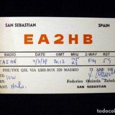 Radios antiguas: TARJETA POSTAL QSL RADIOAFICIONADO. EA2HB - SAN SEBASTIAN), 1978. RADIO AFICIONADO . Lote 163988494