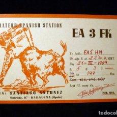 Rádios antigos: TARJETA POSTAL QSL RADIOAFICIONADO. EA3FK - BARCELONA, 1969. RADIO AFICIONADO. Lote 164016862