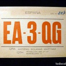Radios antiguas: TARJETA POSTAL QSL RADIOAFICIONADO. EA3QG - BARCELONA, 1968. RADIO AFICIONADO. Lote 164019898
