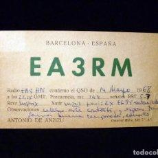 Radios antiguas: TARJETA POSTAL QSL RADIOAFICIONADO. EA3RM - BARCELONA, 1968. RADIO AFICIONADO. Lote 164020466