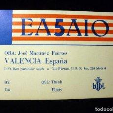 Radio antiche: TARJETA POSTAL QSL RADIOAFICIONADO. EA5AIO - VALENCIA, 1980. RADIO AFICIONADO. Lote 164039234