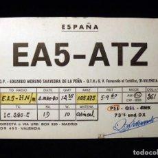 Radios antiguas - TARJETA POSTAL QSL RADIOAFICIONADO. EA5ATZ - VALENCIA, 1980. RADIO AFICIONADO - 164041702