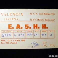 Radios antiguas: TARJETA POSTAL QSL RADIOAFICIONADO. EA5HH - VALENCIA, 1973. RADIO AFICIONADO . Lote 164043978