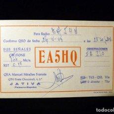 Radios antiguas: TARJETA POSTAL QSL RADIOAFICIONADO. EA5HQ - JATIVA (VALENCIA), 1968. RADIO AFICIONADO . Lote 164047582