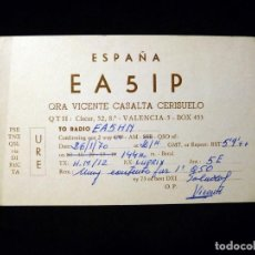Radios antiguas: TARJETA POSTAL QSL RADIOAFICIONADO. EA5IP - VALENCIA, 1970. RADIO AFICIONADO . Lote 164050358