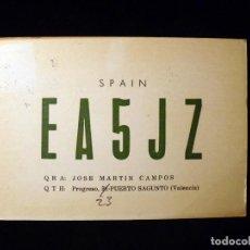 Rádios antigos: TARJETA POSTAL QSL RADIOAFICIONADO. EA5JZ - PUERTO DE SAGUNTO (VALENCIA), 1976. RADIO AFICIONADO . Lote 164053950