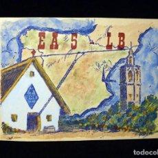 Radios antiguas: TARJETA POSTAL QSL RADIOAFICIONADO. EA5LB - VALENCIA, 1974. COLOREADA A MANO. RADIO AFICIONADO . Lote 164055910
