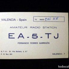 Radios antiguas: TARJETA POSTAL QSL RADIOAFICIONADO. EA5TJ - VALENCIA, 1970. RADIO AFICIONADO . Lote 164062898
