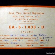 Radios antiguas: TARJETA POSTAL QSL RADIOAFICIONADO. EA51433U - CHIRIVELLA (VALENCIA), 1968. RADIO AFICIONADO . Lote 164067634