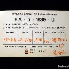 Radios antiguas: TARJETA POSTAL QSL RADIOAFICIONADO. EA51639U - VALENCIA, 1970. RADIO AFICIONADO . Lote 164068342