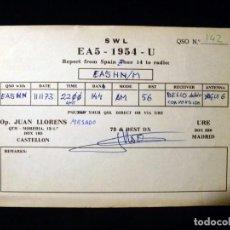 Radios antiguas: TARJETA POSTAL QSL RADIOAFICIONADO. EA51954U - CASTELLÓN, 1973. RADIO AFICIONADO . Lote 164068686