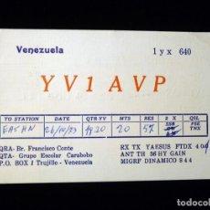 Radios antiguas: TARJETA POSTAL QSL RADIOAFICIONADO. YV1AVP - TRUJILLO (VENEZUELA), 1973. RADIO AFICIONADO . Lote 164460014