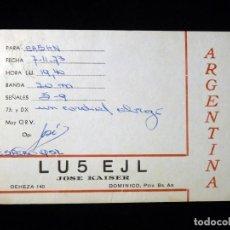 Radios antiguas: TARJETA POSTAL QSL RADIOAFICIONADO. LU5EJL - DOMINICO (ARGENTINA), 1973. RADIO AFICIONADO. Lote 164482590