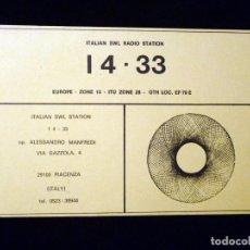 Radios antiguas - TARJETA POSTAL QSL RADIOAFICIONADO. I433 -PIACENZA (ITALIA), 1980. RADIO AFICIONADO - 164524442