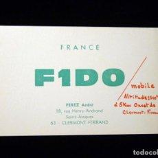 Radios antiguas: TARJETA POSTAL QSL RADIOAFICIONADO. F1DO - CLERMONT-FERRAND (FRANCIA), 1967. RADIO AFICIONADO . Lote 164592134