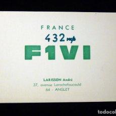 Radios antiguas: TARJETA POSTAL QSL RADIOAFICIONADO. F1VI - ANGLET (FRANCIA), 1970. RADIO AFICIONADO. Lote 164592734