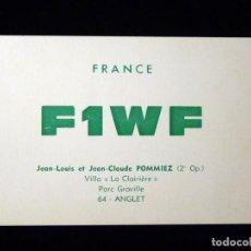 Radios antiguas: TARJETA POSTAL QSL RADIOAFICIONADO. F1WF - ANGLET (FRANCIA), 1968. RADIO AFICIONADO. Lote 164592838