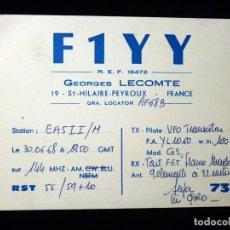 Radios antiguas: TARJETA POSTAL QSL RADIOAFICIONADO. F1YY - ST.HILAIRE-PEYROUX (FRANCIA), 1968. RADIO AFICIONADO . Lote 164592942