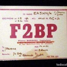 Radios antiguas: TARJETA POSTAL QSL RADIOAFICIONADO. F2BP - BIARRITZ (FRANCIA), 1971. RADIO AFICIONADO . Lote 164593042