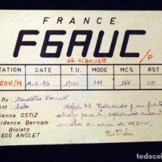 Radios antiguas: TARJETA POSTAL QSL RADIOAFICIONADO. F6AUC - ANGLET (FRANCIA), 1973. RADIO AFICIONADO. Lote 164594298
