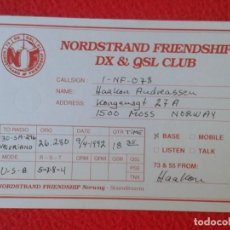 Radios antiguas: POSTAL POST CARD QSL RADIO AMATEUR NORDSTRAND FRIENDSHIP DX CLUB NORWAY SCADINARIA NORUEGA NORGE VER. Lote 170096972