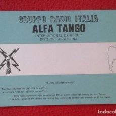 Radios antiguas: POSTAL POST CARD QSL RADIOAFICIONADOS RADIO AMATEUR GRUPPO ALFA TANGO ITALIA ARGENTINA ARGENTINE MAP. Lote 171751552