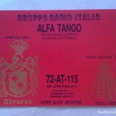 Radios antiguas: POSTAL POST CARD QSL RADIOAFICIONADOS RADIO AMATEUR GRUPPO ALFA TANGO ITALIA GUATEMALA GRAN JAGUAR . Lote 171753117