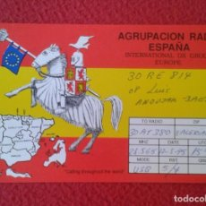 Radios antiguas: POSTAL POST CARD QSL RADIOAFICIONADOS RADIO AMATEUR AGRUPACIÓN ESPAÑA SPAIN MAPA MAP BANDERA FLAG VE. Lote 171786678