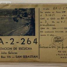 Radios antiguas: TARJETA RADIOAFICIONADO EA-2-264 (SAN SEBASTIAN). AÑO 1951.. Lote 172387130