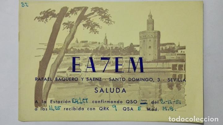 TARJETA RADIOAFICIONADO EA-7-EM, SEVILLA , AÑOS 50 (Radios, Gramófonos, Grabadoras y Otros - Radioaficionados)