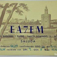 Radios antiguas: TARJETA RADIOAFICIONADO EA-7-EM, SEVILLA , AÑOS 50. Lote 172452869