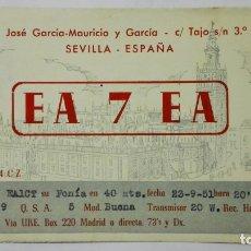 Radios antiguas: TARJETA RADIOAFICIONADO EA-7-EA, SEVILLA , AÑOS 50. Lote 172452907