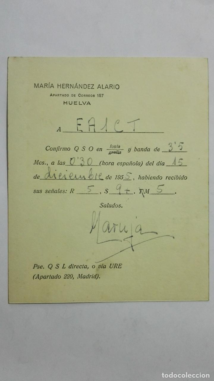 Radios antiguas: TARJETA RADIOAFICIONADO EA-7-GV, HUELVA , AÑOS 50 - Foto 2 - 172452935