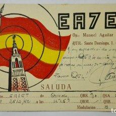Radios antiguas: TARJETA RADIOAFICIONADO EA-7-EN, SEVILLA , AÑOS 50. Lote 172452964