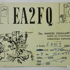 Radio antiche: TARJETA RADIOAFICIONADO EA-2-FQ, ZARAGOZA , AÑOS 50. Lote 214635891