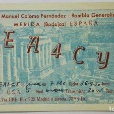 Radios antiguas: TARJETA RADIOAFICIONADO, EA-4-CY, MERIDA - BADAJOZ, AÑOS 50. Lote 172478233