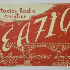 Radios antiguas: TARJETA RADIOAFICIONADO, EA-7-IQ, SEVILLA, AÑOS 50. Lote 172478299