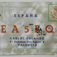 Radios antiguas: TARJETA RADIOAFICIONADO, EA-5-EQ, VALENCIA, AÑOS 50. Lote 172478463